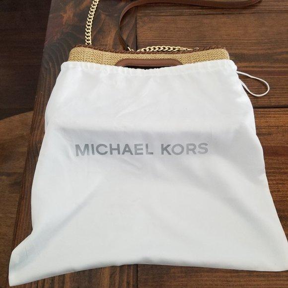 MICHAEL KORS WOVEN/STRAW SUMMER CROSSBODY BAG